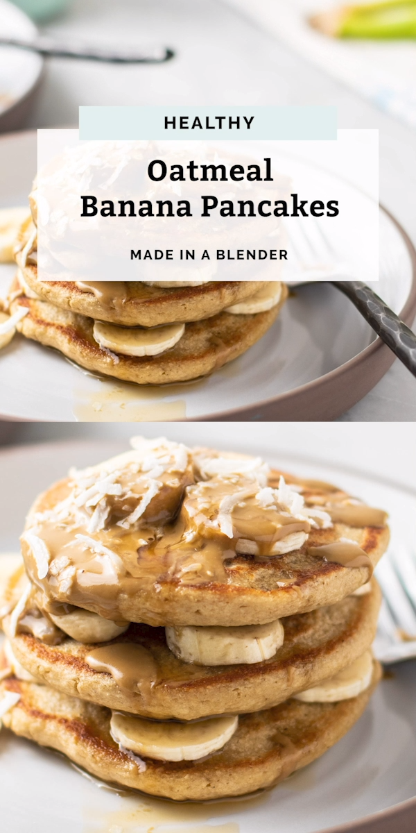 Healthy Banana Oatmeal Pancakes (made in a blender) #flaxseedmealrecipes