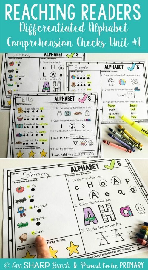 Help your students build their comprehension skills and fluency with the Alphabet Comprehension Checks. They are perfect for assessment of letters and the alphabet. These repetitive and patterned comprehension checks are perfect for your beginning readers. #earlyliteracy #readingcomprehension #readingactivities #alphabetactivities #letteractivities