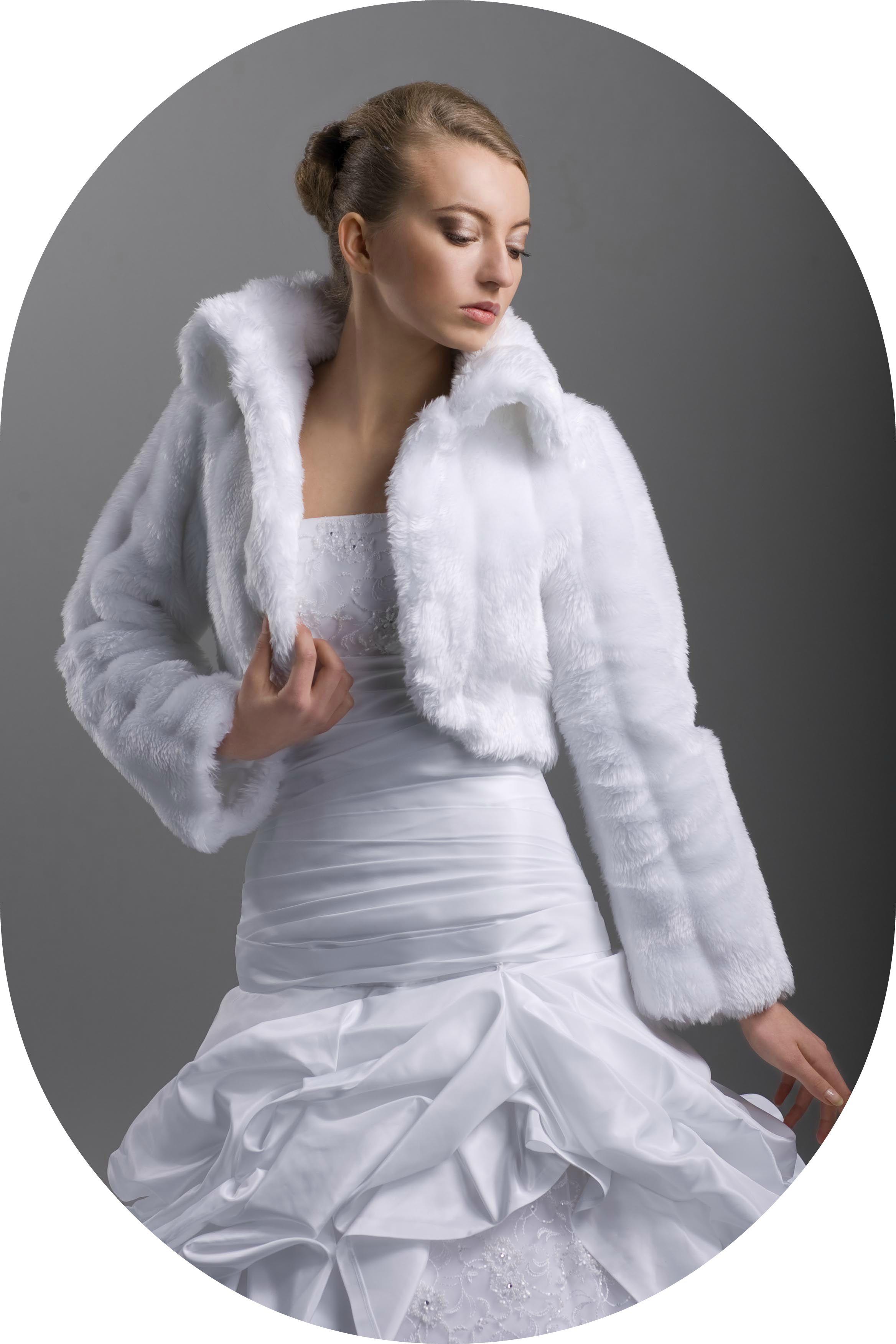 Winterbolero fr die Braut  Brautjacke aus Nerzimitat zum
