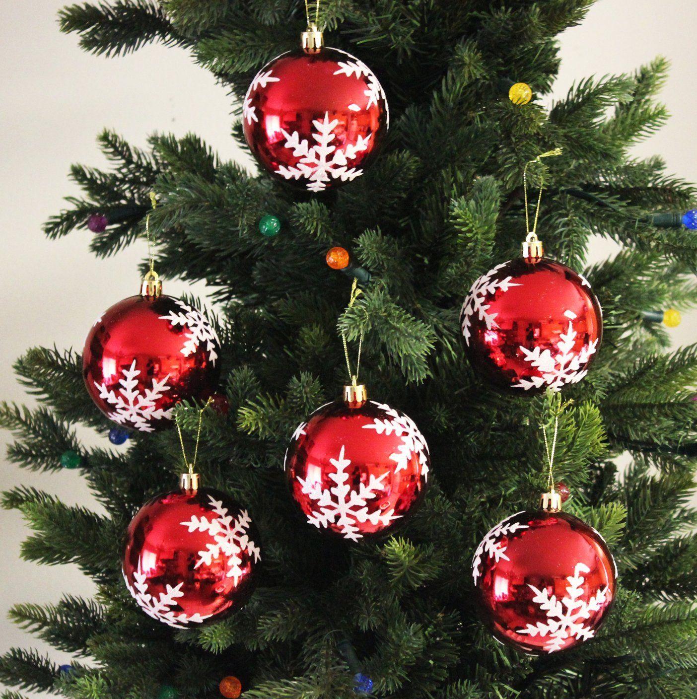 Festive Season Snowflake Shatterproof Christmas Ball Ornaments, Tree Decorations (Set