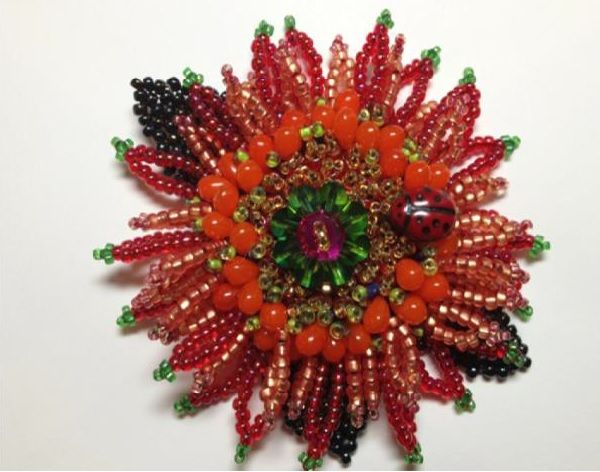 Zinnia Pin - The Embroiderers' Guild of America