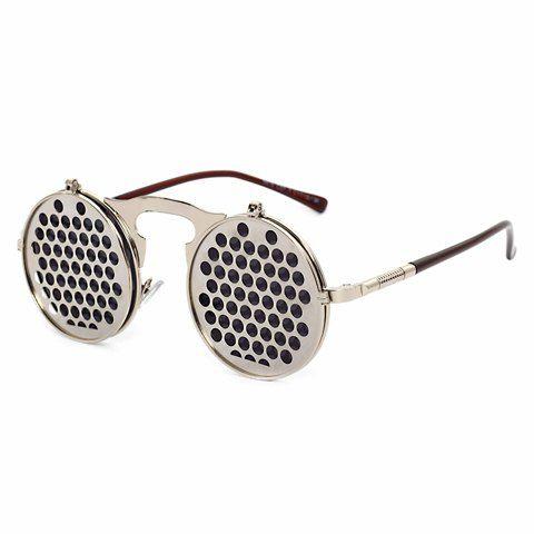 acdd24785b7 Steampunk Round Metal Silver Multi-Hole Frame Unisex Flip Up Sunglasses  Grey Lens.  8.73 Stylish Honeycomb Shape Embellished Clamshell Sunglasses