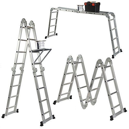 Vonhaus 14 In 1 15 1ft Multi Purpose Folding Ladder With 2 Scaffold Working Plates And Tool Tray En131 Folding Ladder Ladder Aluminum Extension Ladder