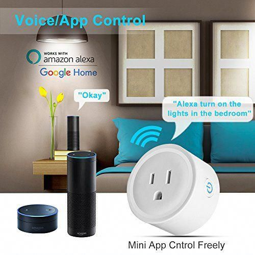 Mini Smart Plug WiFi Outlet, White Remote Control Timer