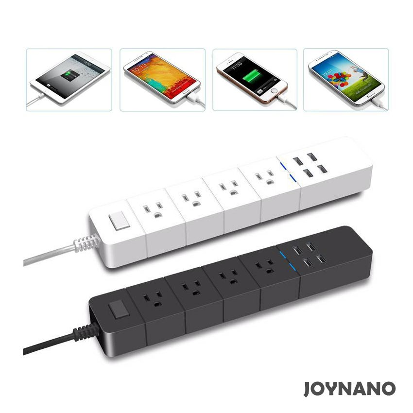 Joynano Dual Voltage Power Strip 4 Ac Outlets 4 Port Usb Charging Station 2500w 10a Surge Protector Led Indicator 3 Prong Power Strip Usb Usb Charging Station