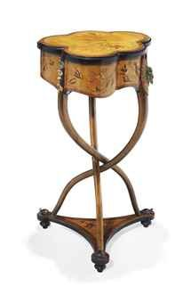 Painted Metal-Mounted Marquetry Work Table by De Charles-Guillaume Diehl, circa 1880