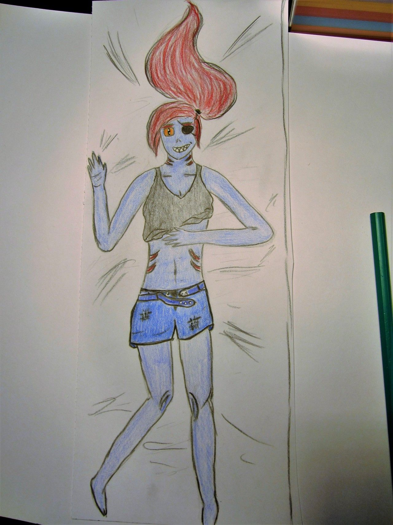 I coloured that dakimakura styled Undyne thingy XD …because boredom… (I wasnt outsi... - #(*-*)/ #back #dakimakura #drawings #heroine #my #photo #polychromos #reference #search! #the #to #undertale #undyne
