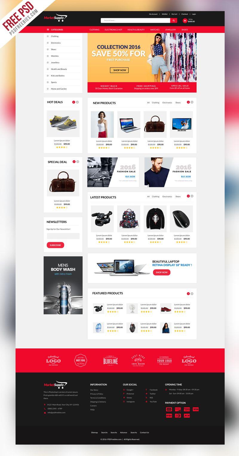 multipurpose ecommerce website template psd free web templates