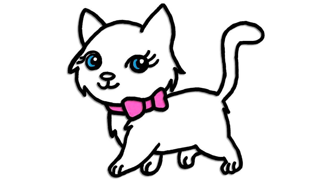 How To Draw a Cute Little Kitty Cat , Color and Draw Easily