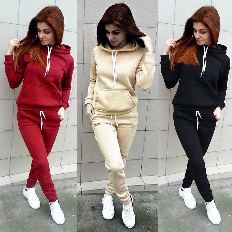 2f5269fef0 2Pcs Women Hoodies Sports Tops Pants Tracksuit Sweatshirt Sweat Suit ...