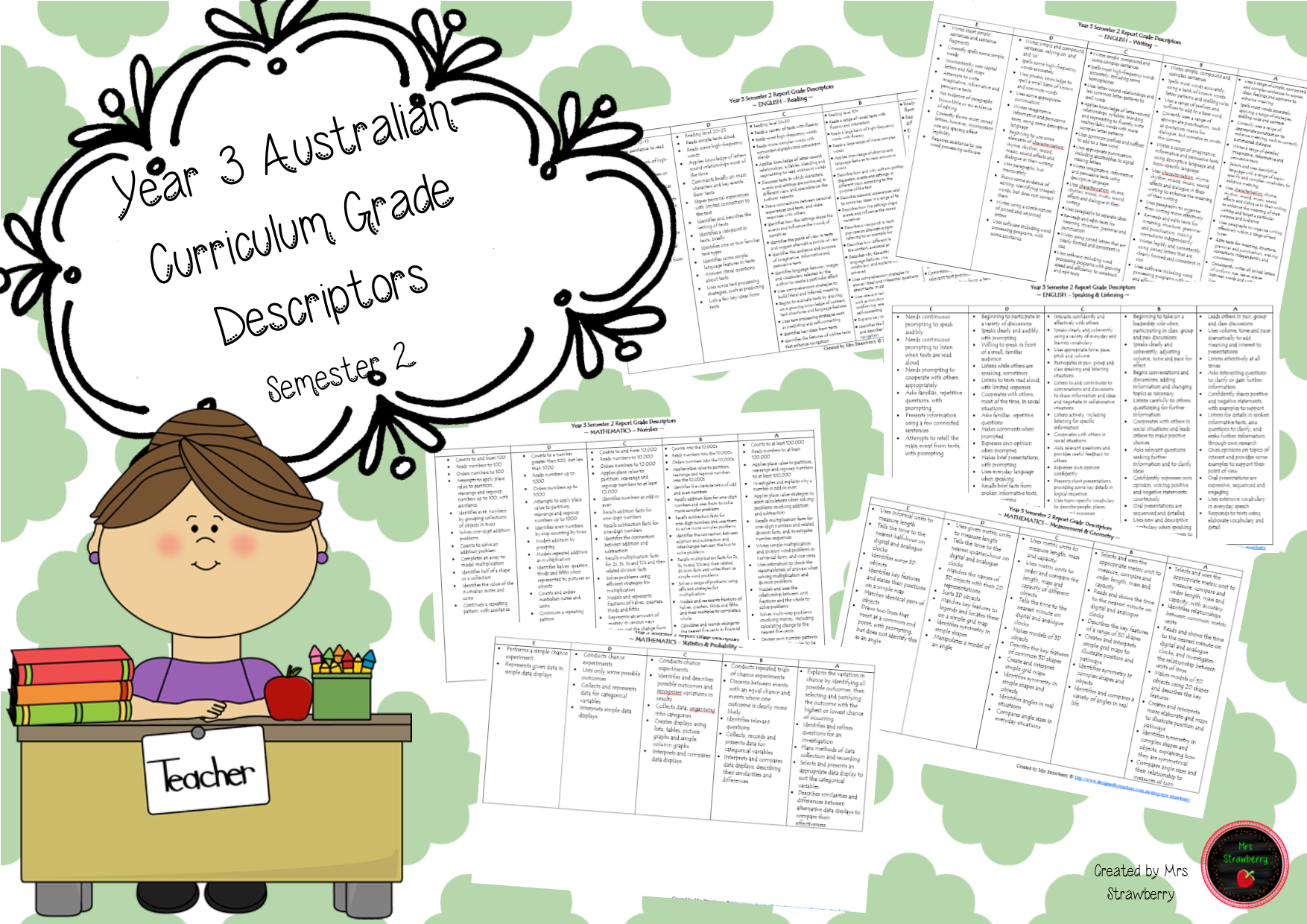 This productcontains reporting grade descriptors for Year 3, Semester 2. These have been developed using the Australian Curriculum and the Judging Standards. …