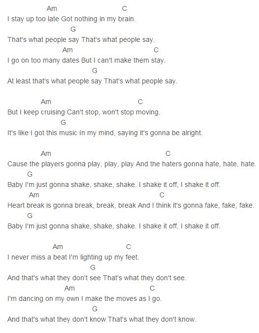 1989, Taylor Swift Shake It Off Chords Lyrics for Guitar Ukulele ...