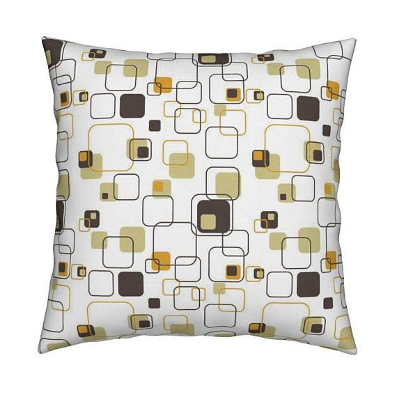 Mid Century Modern Pillow Groovy Cubes 9in Gold By