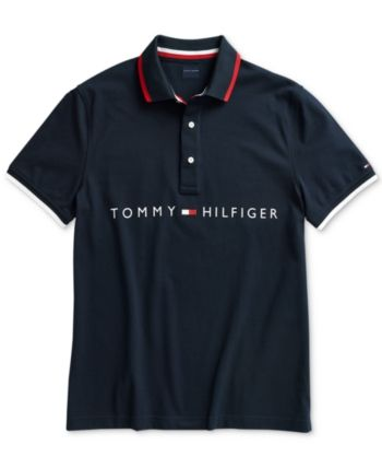64862802 Tommy Hilfiger Adaptive Men's Logo Graphic Polo with Magnetic Buttons -  Blue XXL