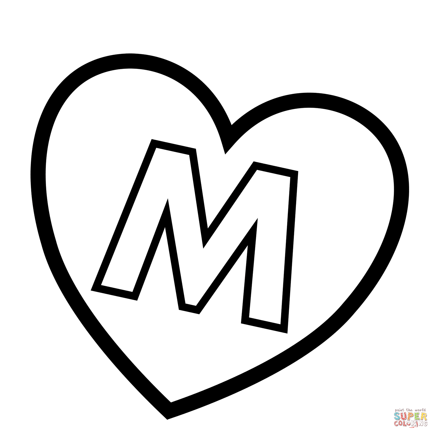 Letter M In Heart Coloring Page Free Printable Coloring Pages Heart Coloring Pages Lettering Alphabet Coloring Pages