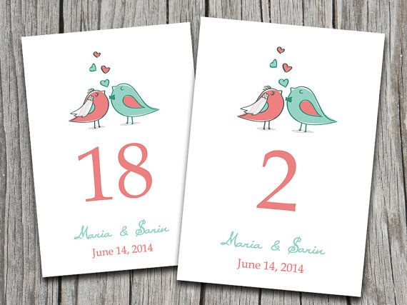 Wedding table number microsoft word template love birds bride groom coral mint green for Wedding table numbers template