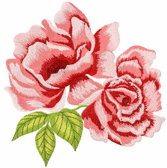 Two red roses free machine embroidery design flowers