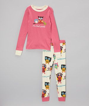 Love this Pink 'Owl Yours' Pajama Set - Toddler & Girls by Lazy One on #zulily! #zulilyfinds