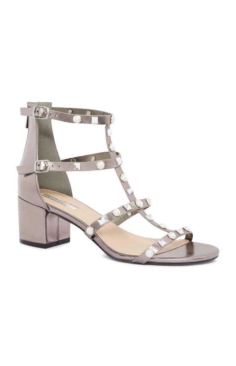 Black sandals primark - Primark Silver Studded Block Heel Sandals