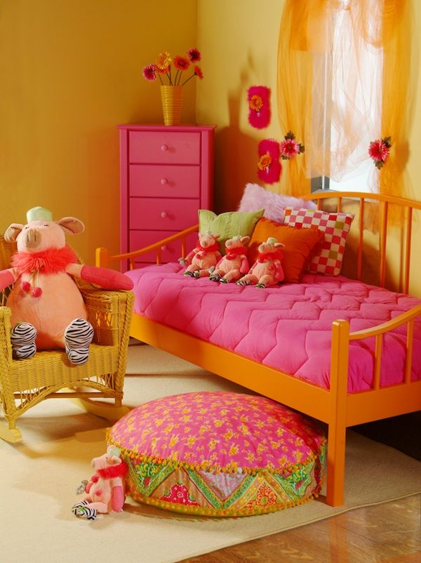 Pink and orange kids room for the home pinterest for Orange and purple walls