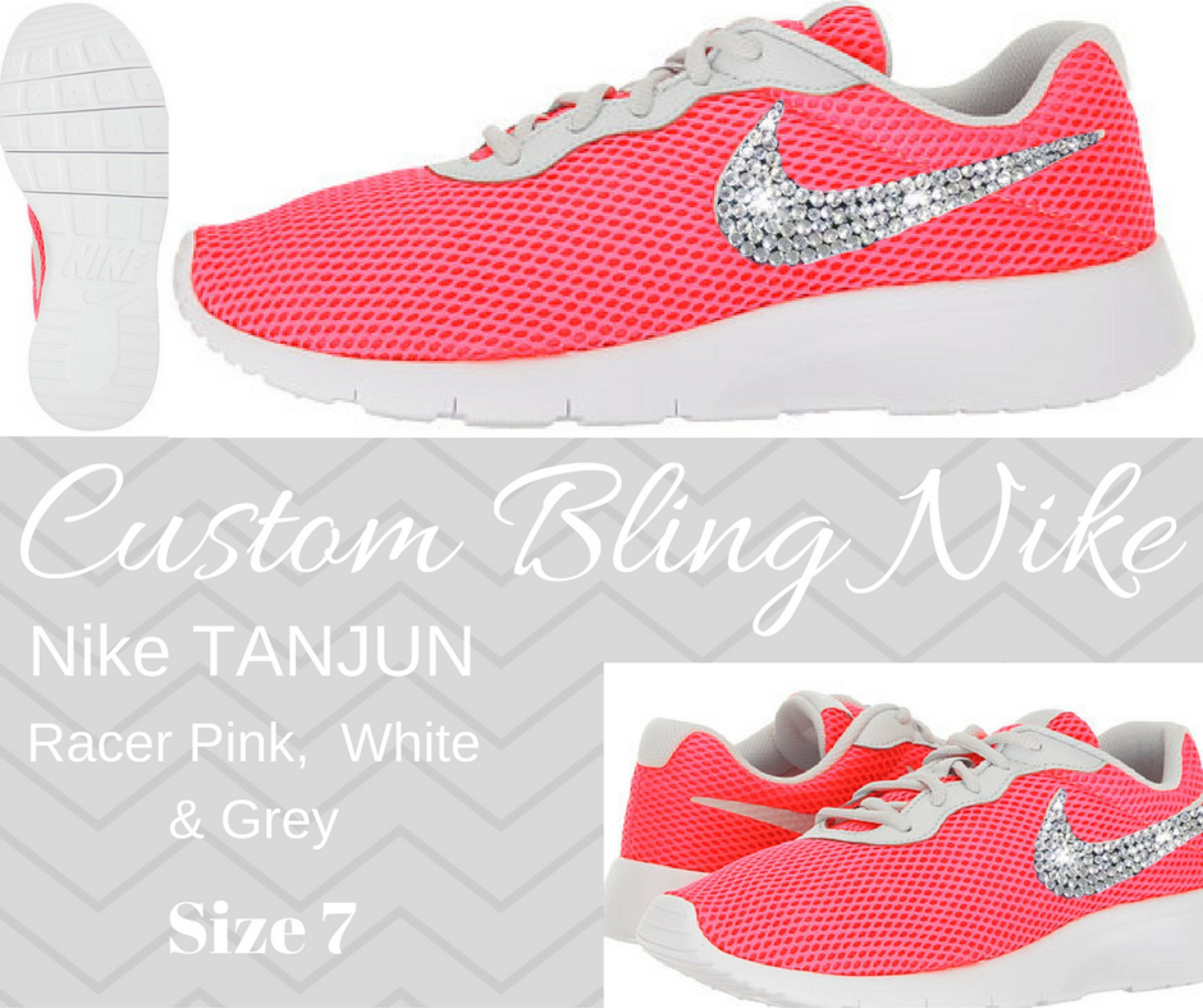 340c332a53d3 Nike Bling - Nike Tanjun - Running Shoes - Crystal - Bling Nike - Custom - Size  7 - Racer Pink by SparkleBoutique2U on Etsy