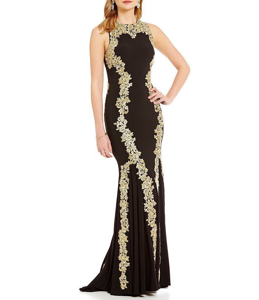 Cool awesome betsy adam gold lace applique sleeveless formal mermaid