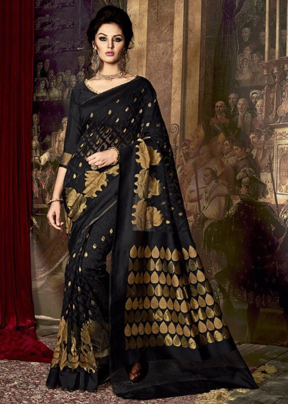 7fcc96eedd9  Black  silk  saree with rich  resham and  sari weave.