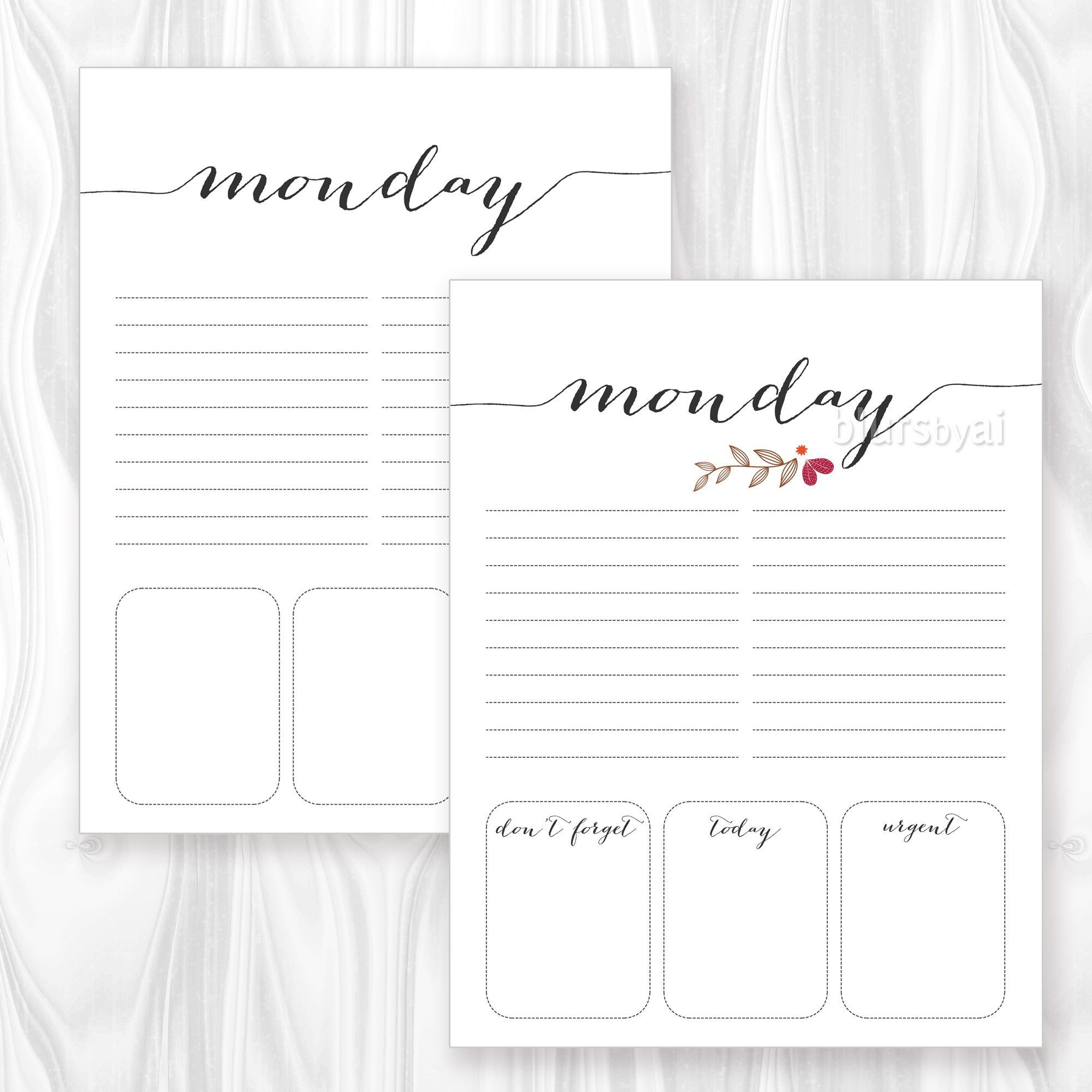 Printable Daily Planner Or To Do List Featuring Floral
