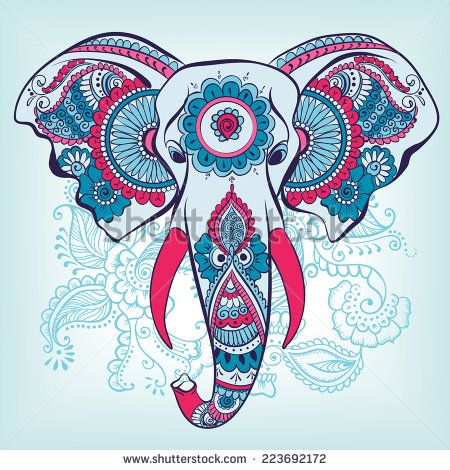 Vector Indian Decorative Elephant On The Henna Indian Ornaments