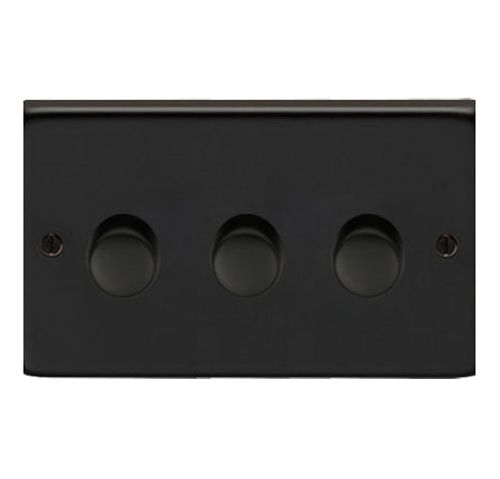 Matt Black Triple Dimmer Switch 400w Dimmer Switch Dimmer Black