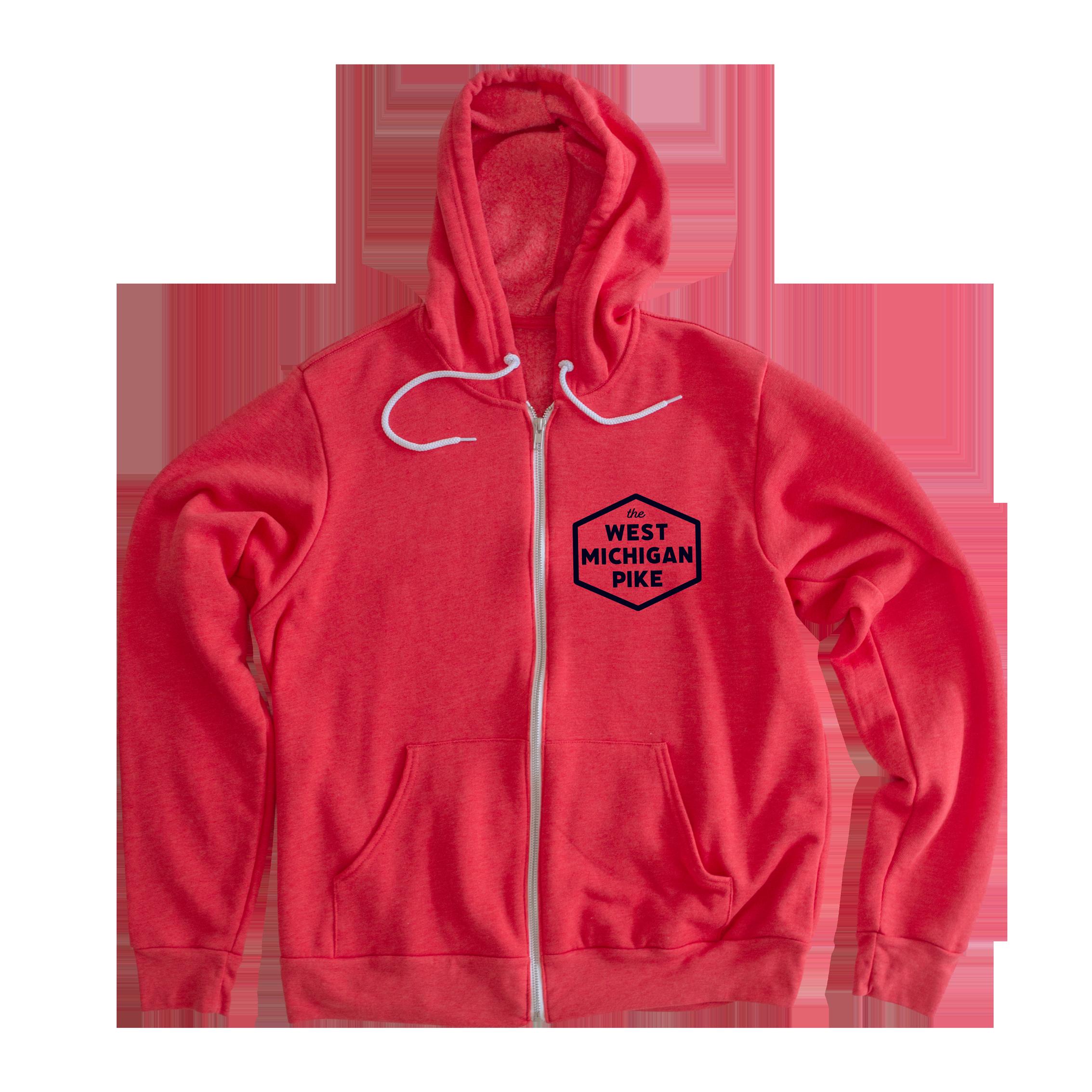 West Michigan Pike Hooded Zip Up Sweatshirt – S / Heather Red