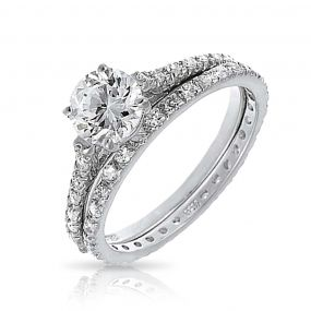 Bling Jewelry Bridal CZ Solitaire Engagement Wedding Ring Set