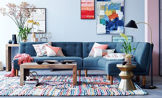 i love the west elm well-rounded retro living room on westelm