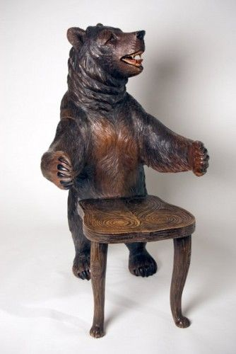 A Very Rare Pair & Not So Cuddly, of Black Forest Bear Armchairs, Modeled as a Male and Female Bear Standing Facing Each Other, ca. 1870.
