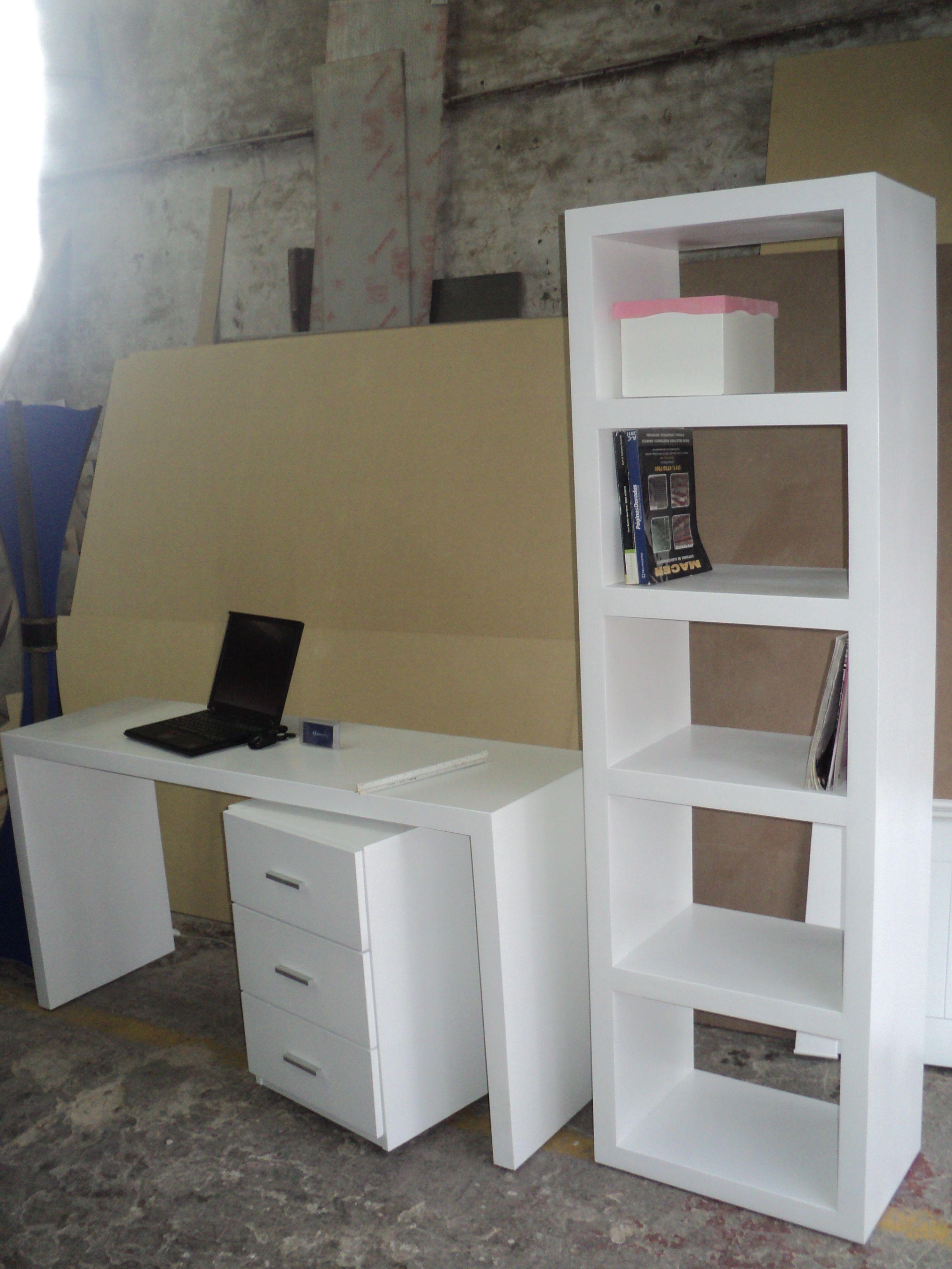 Escritorio con cajonera y biblioteca escritorios - Cajonera de oficina ...