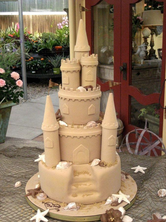 Sand Castle Wedding Cake With Images Sand Castle Cakes Castle