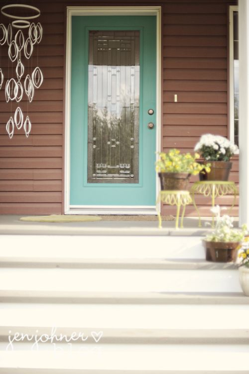 Soothing and pretty together brown and robins egg blue - Door colors for brown house ...