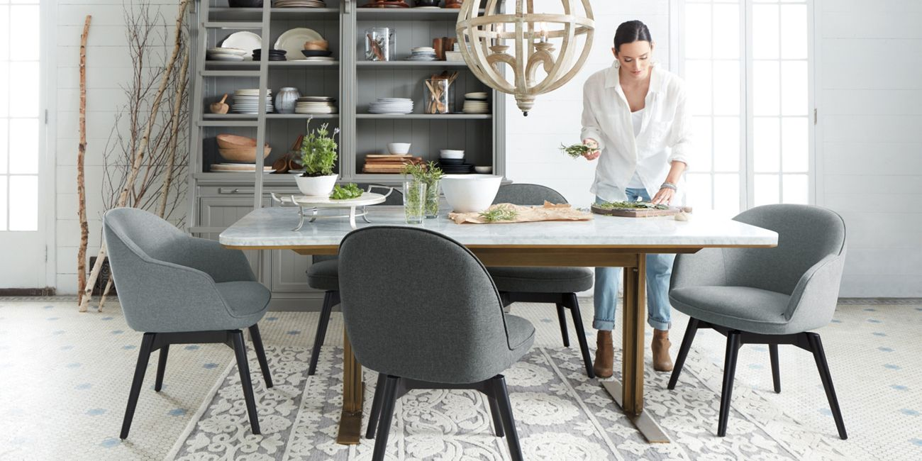arhaus capri dining chairs cassina cab chair massa table furniture in black marble highland