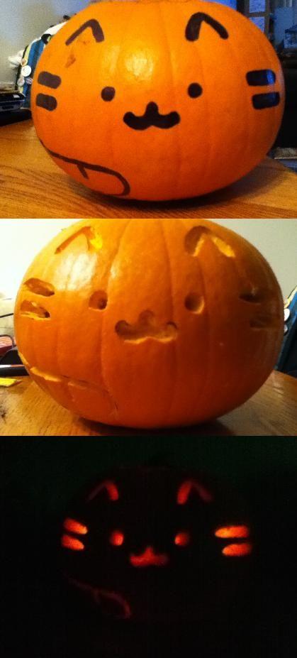 Pusheen Kitty Pumpkin By Zombiestaste On Deviantart Halloween