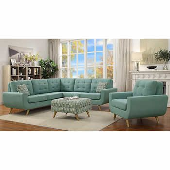 erica ii teal 3 piece fabric set design inspirations fabric rh pinterest co uk Black and Grey Sofas and Loveseats Grey Tufted Sofa