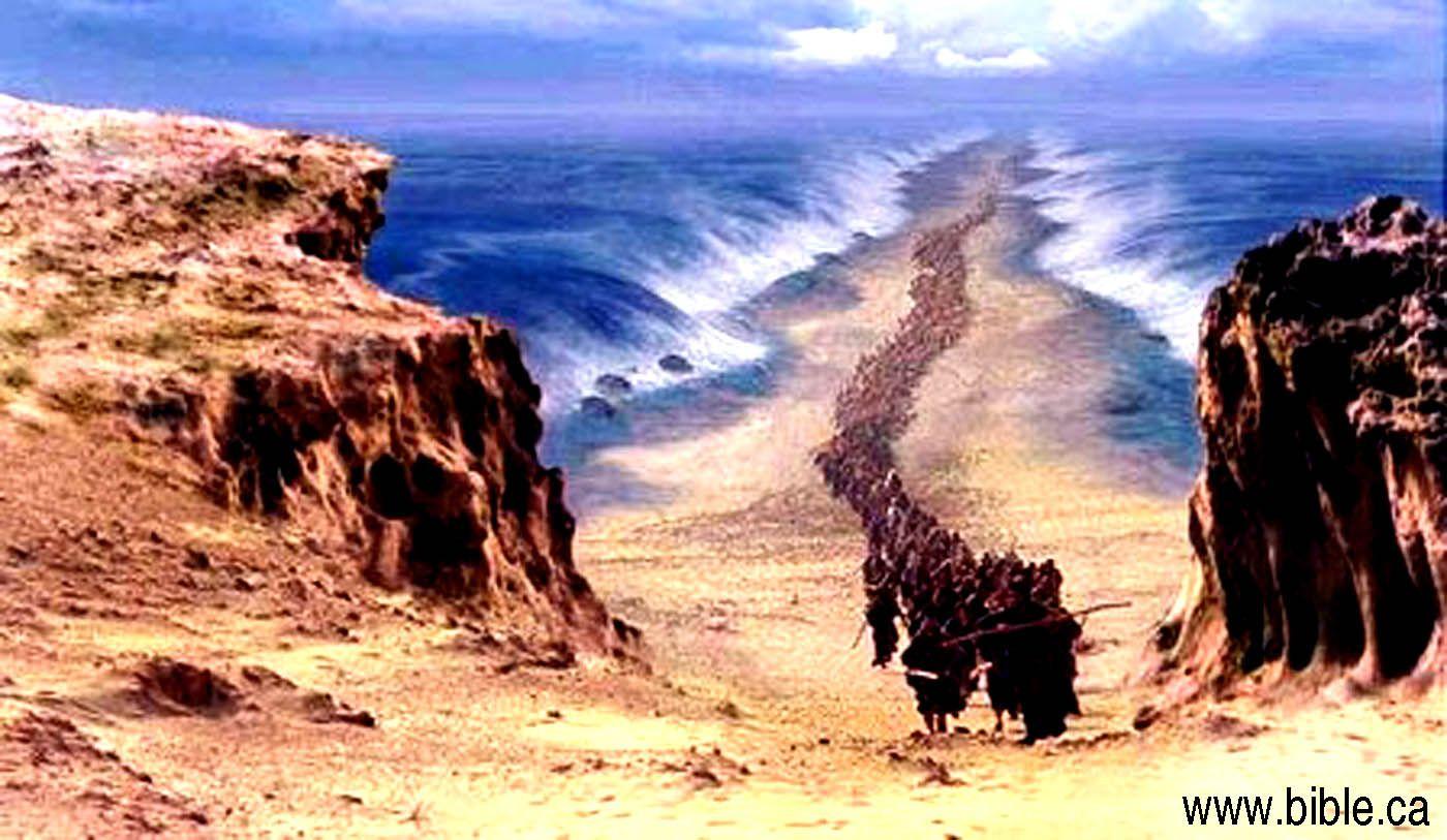 artistic rendering israelites crossing the red sea biblical