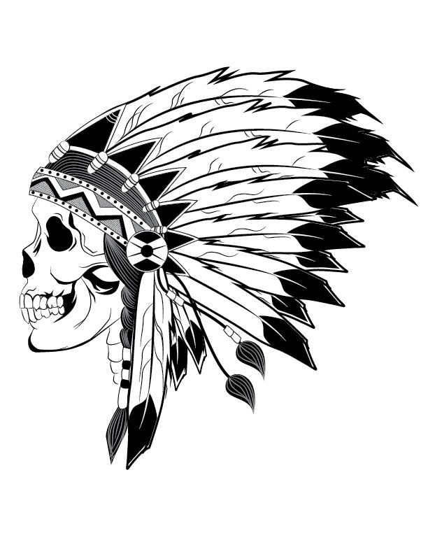 Indian Chief Skull Illustration   ART   Indian skull ...