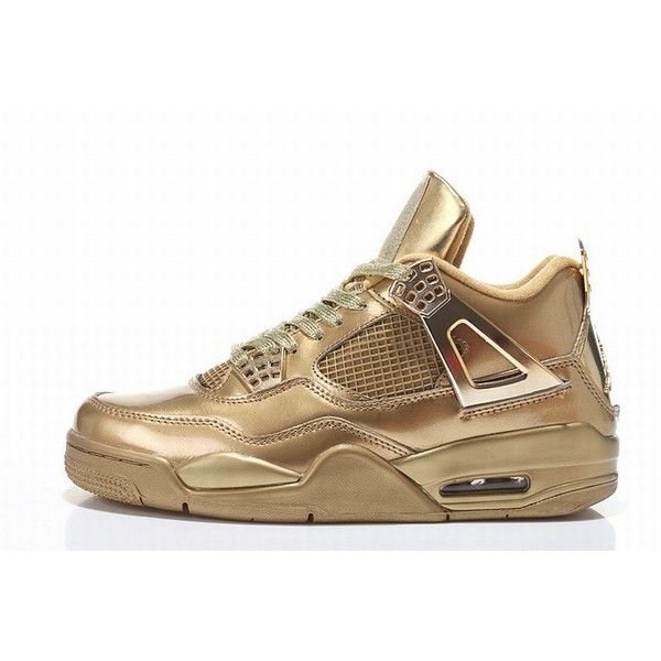 new product 358b5 03d9e Air Jordan 4 Yeezy Revelation Custom Gold Shoes ( 110) ❤ liked on Polyvore  featuring shoes and jordans