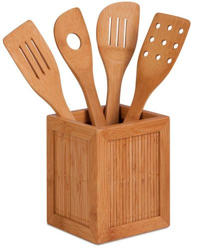 Beautiful Honey Can Do Bamboo Kitchen Utensil Caddy Set