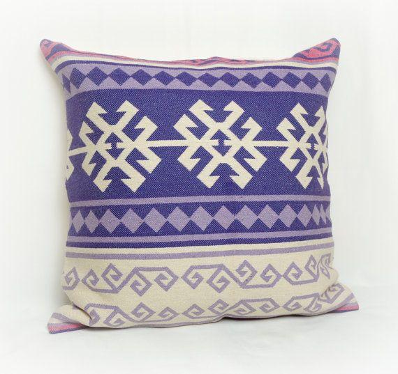 Purple Cream Fuchsia Pink Tribal Pattern Kilim Decorative Pillow Case , Cushion Cover 18