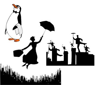 Mary Poppins silhouettes, including London skyline.
