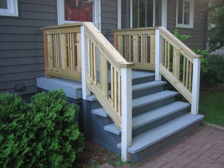 Best Exterior Grey Stone Porch With Blue Wooden Tread Stair 400 x 300