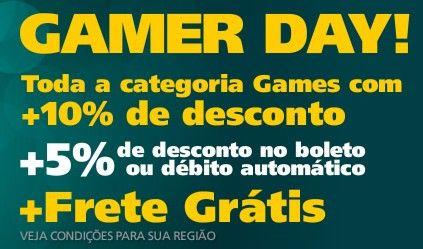 Aproveite o Gamer Day da Saraiva e compre os games que você desejava com desconto de até 15%, se pagar à vista no boleto ou débito. E ainda tem frete grátis de acordo com sua região.