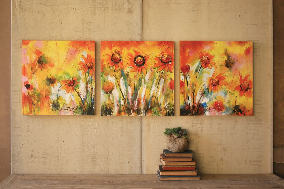 bright abstract floral triptych | set of three handpainted in bright ...