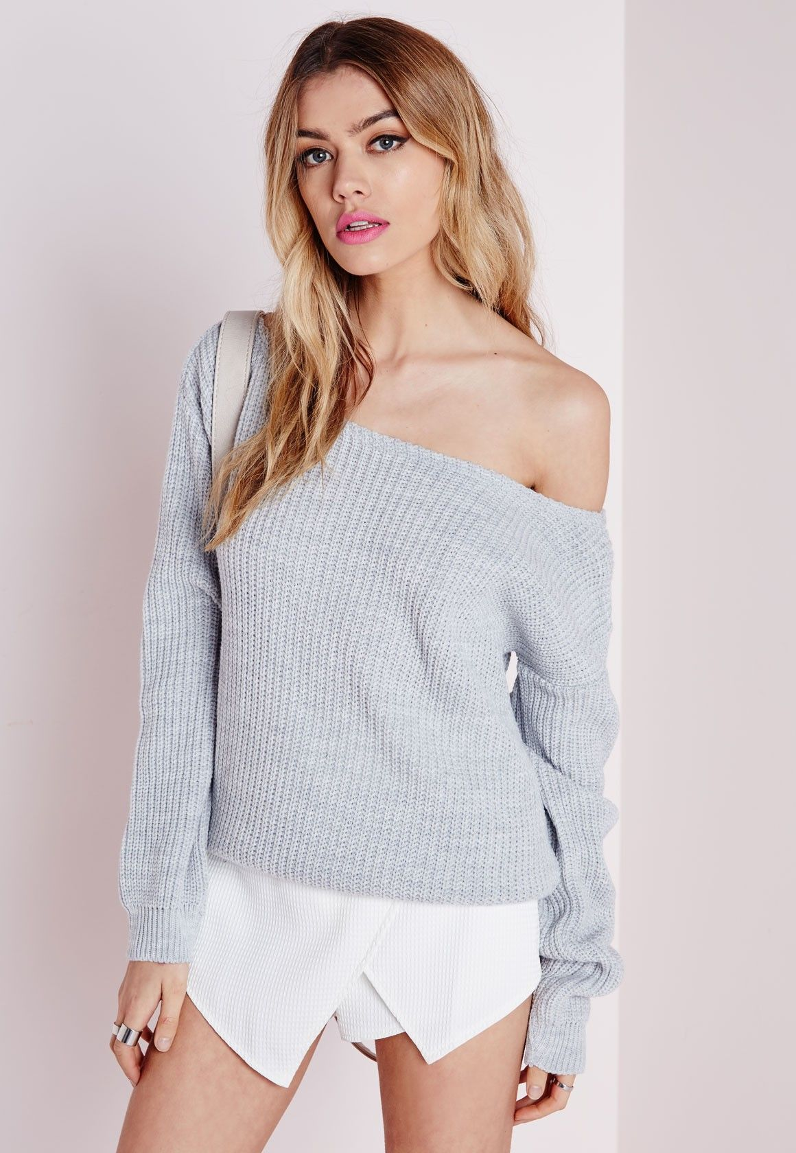 eb19c5003cf Missguided - Ophelita Off Shoulder Knitted Jumper Grey   The Want ...